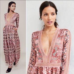 For Love & Lemons Juliet Maxi Dress in Maroon Sz M